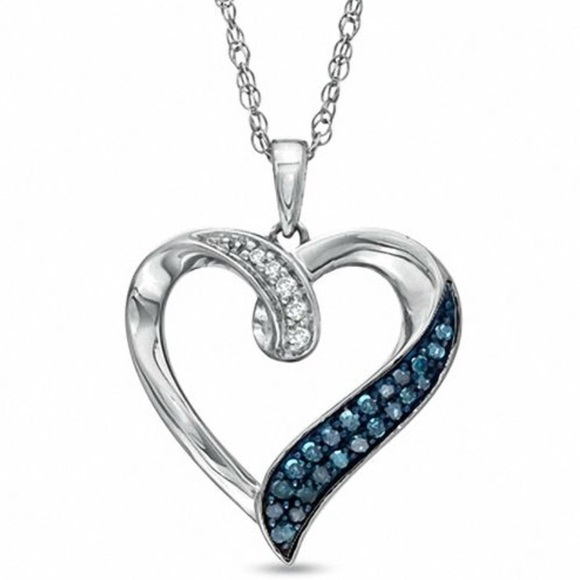 Zales jewelry blue and white diamond heart pendant poshmark blue and white diamond heart pendant mozeypictures Image collections